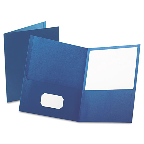 Oxford Blue Textured Paper Letter Size Twin-Pocket Folders - 25pk (ESS-57502) Image 1
