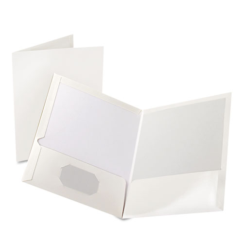 Oxford White Laminated Two-Pocket Portfolio - 25pk (ESS-51704) Image 1