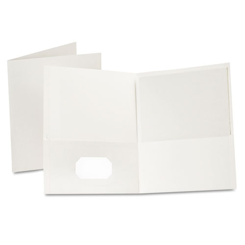 Oxford White Textured Paper Letter Size Twin-Pocket Folders - 25pk (ESS-57504) Image 1