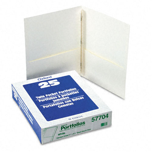 Oxford White Twin-Pocket Tang Fasteners Portfolios - 25pk (ESS-57704) Image 1