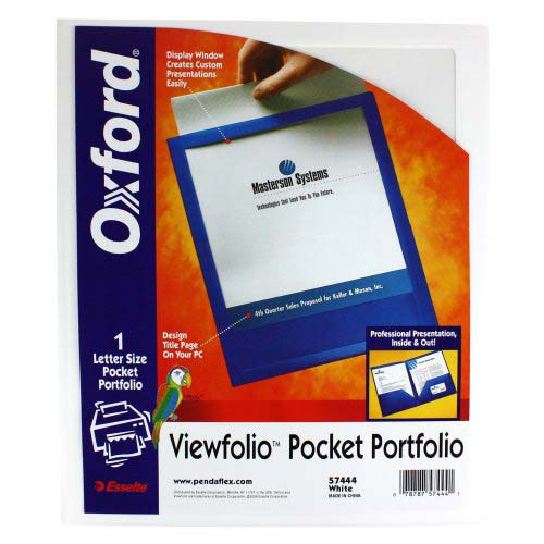 Oxford White ViewFolio Poly Portfolios (ESS-57444) - $4.3 Image 1