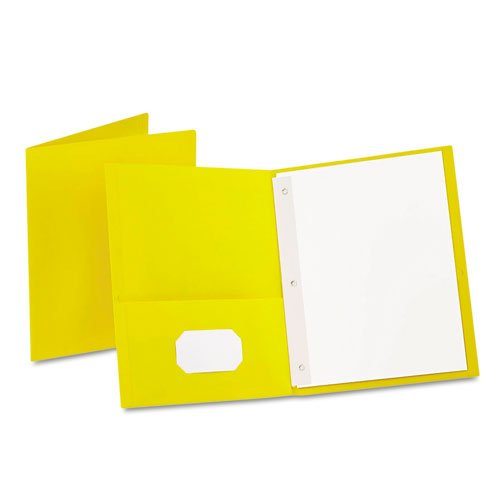 Oxford Yellow Twin-Pocket Tang Fasteners Portfolios - 25pk (ESS-57709) Image 1