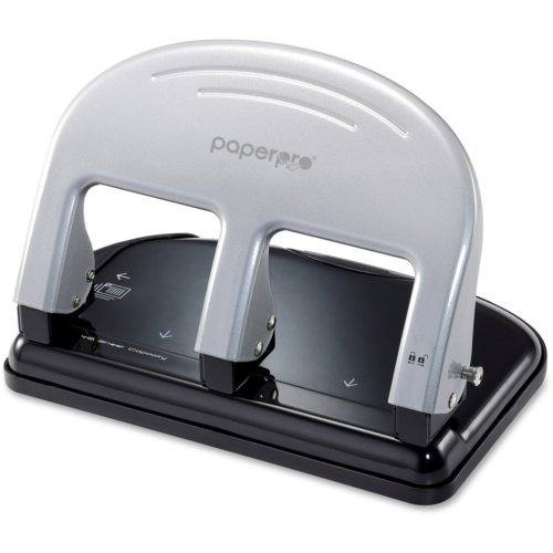 PaperPro Black/Silver inPRESS 40-Sheet 3-Hole Punch (PP2240)