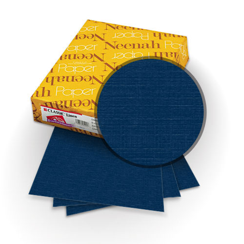 "Neenah Paper Classic Linen Patriot Blue 9"" x 11"" 80lb Covers with Windows - 25 Sets (MYCLINPBW9X11) Image 1"