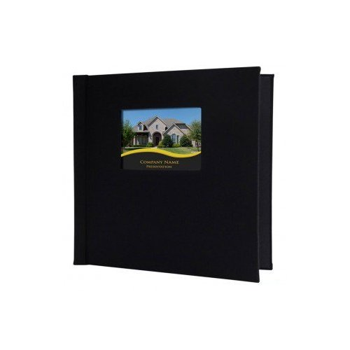 "Pinchbook 12"" x 12"" Black Leather Photobook Hardcovers with Window - 5pk (851212BLKLTHSQ) Image 1"