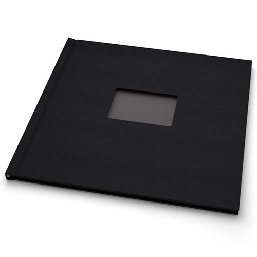"Pinchbook 12"" x 12"" Landscape Black Cloth Photobook Hardcovers with Window - 5pk (PB1212BLKCLSQ) Image 1"
