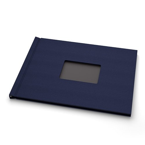 "Pinchbook 8.5"" x 11"" Landscape Navy Cloth Photobook Hardcovers with Window - 5pk (PB8511NVCLL) Image 1"