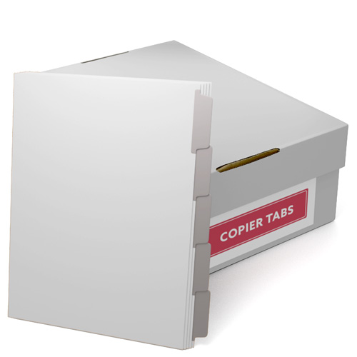 Gray Mylar Coated Copier Tabs - 1 Carton (CUSTOMTCCTGRY) - $214.09 Image 1