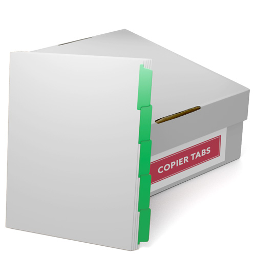 Green Mylar Coated Copier Tabs - 1 Carton (CUSTOMTCCTGRN) - $214.09 Image 1