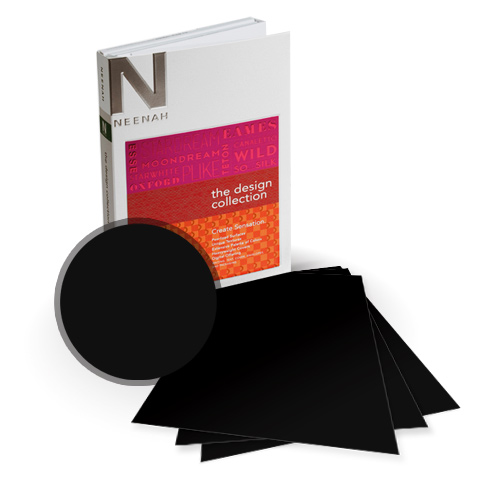 "Neenah Paper PLIKE Black Plastic Like Soft Touch 5.5"" x 8.5"" Card Stock - 8 Sheets (NPCBK534-C) Image 1"