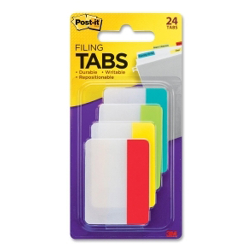 """Post-It 1.5"""" x 2"""" Assorted Write-on Durable Filing Tabs - 24pk (Aqua/Lime/Yellow/Red) (MMM686ALYR) Image 1"""