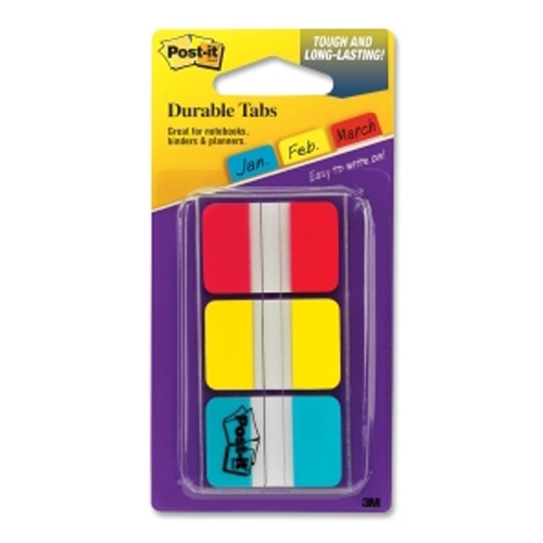 "Post-It 1"" x 1.5"" Red/Blue/Yellow Tab Write-on Durable Index Tabs - 36pk (MMM686RYBT) Image 1"