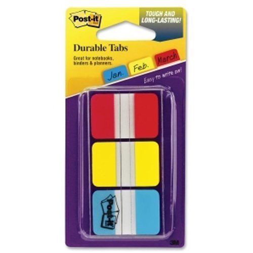 "Post-It 1"" x 1.50"" Red/Blue/Yellow Tab Write-on Durable Index Tabs (MMM6861X150RBY) Image 1"