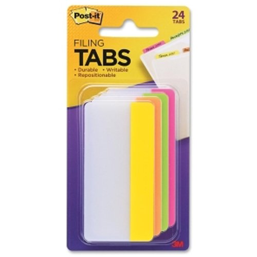"Post-It 3"" x 1.5"" Assorted Bright Color Tab Write-on Durable Filing Tabs - 24pk (MMM686PLOY3IN) Image 1"