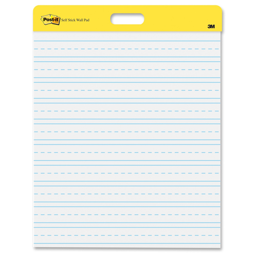 "Post-It Self-Stick 20"" x 23"" White Paper Wall Pad with Primary Ruled Lines - 2 Pads (MMM566PRL) Image 1"