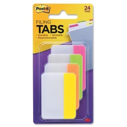 "Post-It 2"" x 1.5"" Assorted Bright Color Tab Write-on Durable Filing Tabs - 24pk (MMM686PLOY) - $4.33 Image 1"