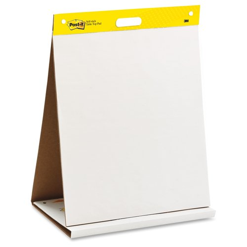 "Post-It 20"" x 23"" White Self-Stick Tabletop Easel Pad - 1 Pad (MMM563R) Image 1"