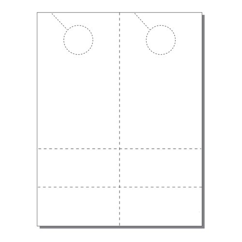 Zapco Print Your Own 2-up Laser Perforated Door Hangers with 2 Coupons - 250pk (ZAPDH216L) Image 1