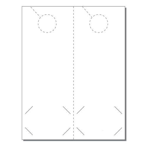 Zapco Print Your Own 2-up Laser Perforated Door Hangers with BC Slits (ZAPDH208L), Zapco brand Image 1
