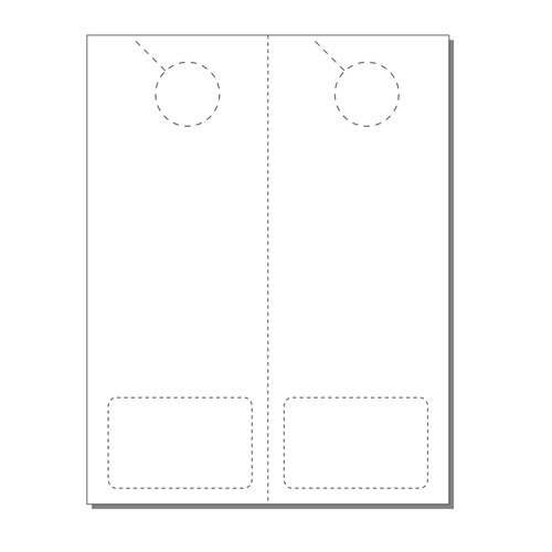 Zapco Print Your Own 2-up Laser Perforated Door Hangers with Club Cards - 250pk (ZAPDH232L) Image 1