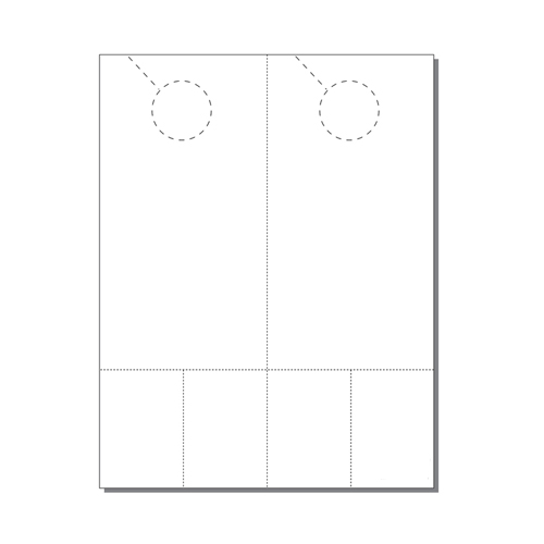 Zapco Print Your Own 2-up Laser Perforated Door Hangers with Double Coupons - 250pk (ZAPDH241L) Image 1