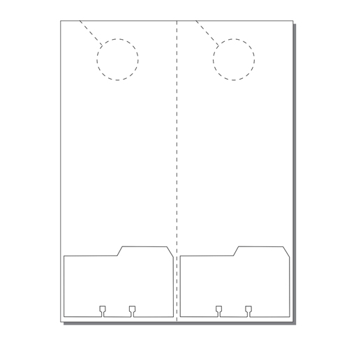 Zapco Print Your Own 2-up Laser Perforated Door Hangers with File Cards - 250pk (ZAPDH227L) Image 1