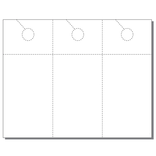 Zapco Print Your Own 3-up Laser Perforated Door Hangers with Post Cards - 250pk (ZAPDH228L) Image 1