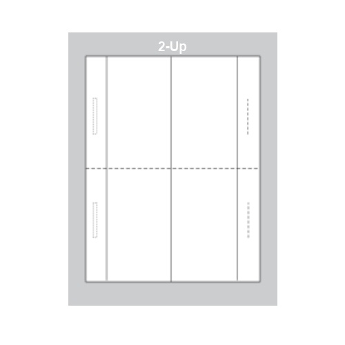 Zapco Print Your Own Perforated Short Horizontal 2-Up Table Tent - 250 Sheets (ZAPTT304L) Image 1