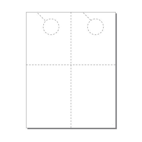 Zapco Print Your Own 2-up Laser Perforated Door Hangers with Post Cards - 250pk (ZAPDH229L) Image 1