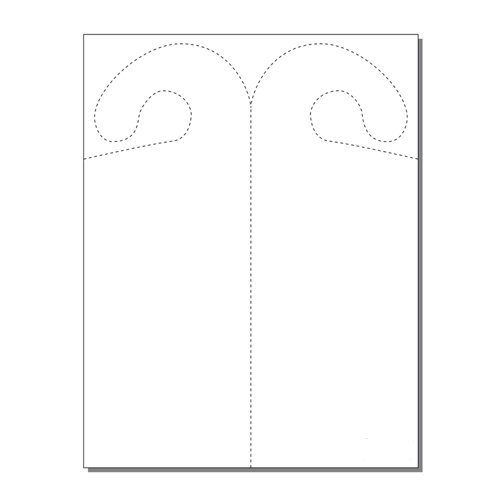 Zapco Print Your Own 2-up Laser Perforated Hook Shaped Door Hangers - 250pk (ZAPDH242L) Image 1