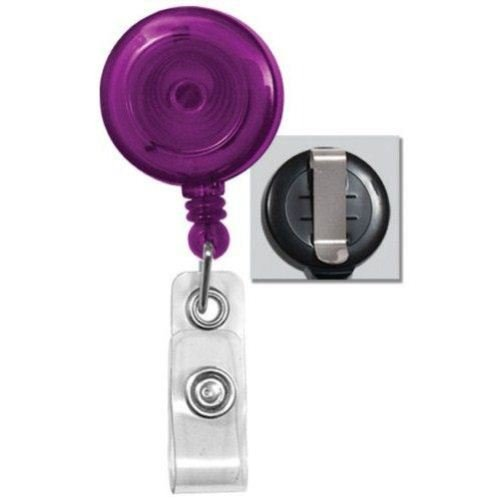Purple Translucent Round Badge Reel with Belt Clip - 25pk (2120-3613) Image 1