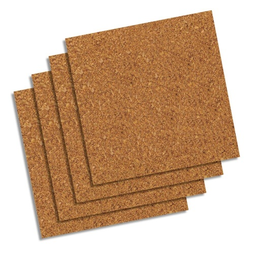 "Quartet 12"" x 12"" Natural Cork Self-Stick Panels - 4pk (QRT-102) Image 1"
