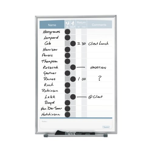 "Quartet 11"" x 16"" 15-Name Matrix In/Out Board (QRT-33703) Image 1"
