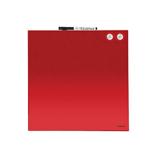 "Quartet 12"" x 12"" Red Magnetic Glass Frameless Dry-Erase Board (QRT-1212RGB) Image 1"