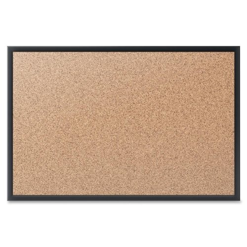 Quartet 2' x 1.5' Standard Natural Cork Bulletin Board with Black Frame (QRT-2301B) Image 1
