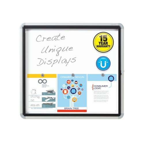 "Quartet 30"" x 27"" Outdoor Enclosed Magnetic Whiteboard with Swing Door (QRT-EEHM2730) Image 1"