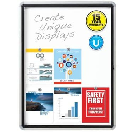 Outdoor Enclosed Magnetic Whiteboard with Swing Door Image 1