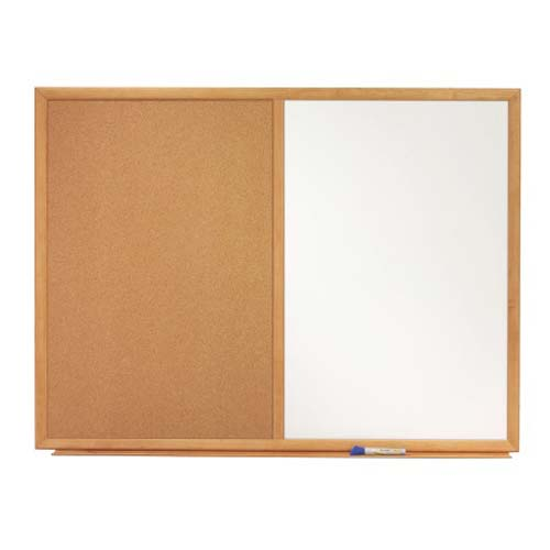 "Quartet 36"" x 23"" Oak Frame Combination Board (QRT-S553) Image 1"