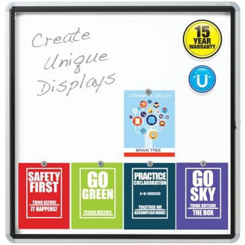 "Quartet 38"" x 39"" Outdoor Enclosed Magnetic Whiteboard with Swing Door (QRT-EEHM3938) - $357.78 Image 1"