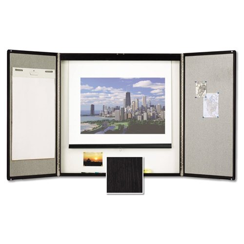 Quartet 4' x 4' Black Wood Veneer Conference Room Cabinet (QRT-854) Image 1