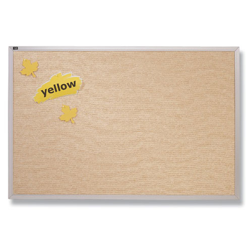 Quartet 4' x 10' Antique White Vinyl Tack Bulletin Board (QRT-VTA410W) Image 1