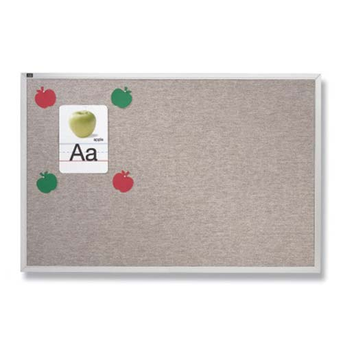 Quartet 4' x 10' Grey Mix Vinyl Tack Bulletin Board (QRT-VTA410G) Image 1