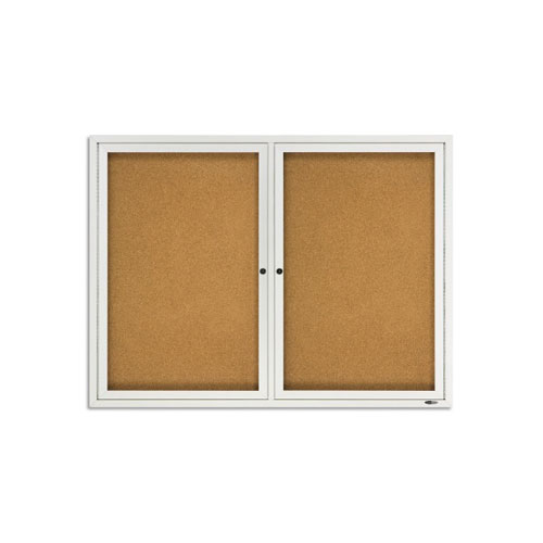 Quartet 4' x 3' Outdoor Enclosed 2 Door Bulletin Board (QRT-2124) Image 1