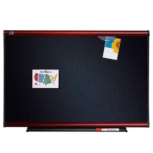 Quartet 4' x 4' Connectable Modular Black Foam Bulletin Board with Mahogany Frame (QRT-MB04F2) Image 1