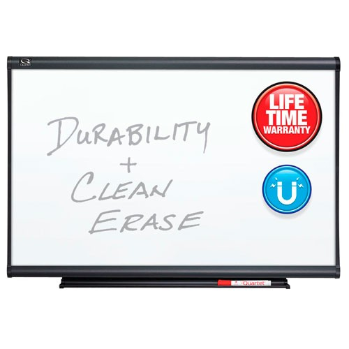 Quartet 4' x 4' Connectable Modular Porcelain Whiteboard with Graphite Frame (QRT-MB04P5) - $277.55 Image 1