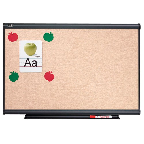 Quartet 4' x 4' Connectable Modular Sand Vinyl Tack Board with Graphite Frame (QRT-MB04N5) - $203.8 Image 1
