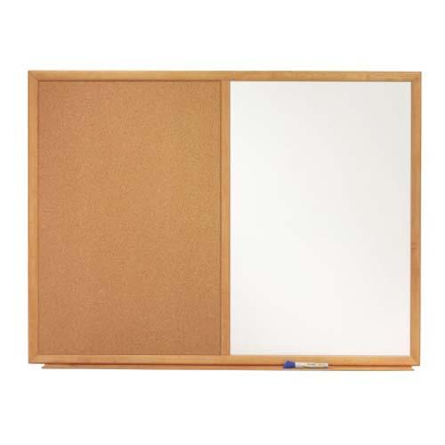 "Quartet 48"" x 34"" Oak Frame Combination Board (QRT-S554) Image 1"