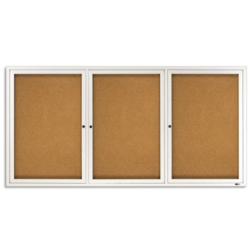Quartet 6' x 3' Indoor Enclosed Cork Bulletin Board (QRT-2366) Image 1
