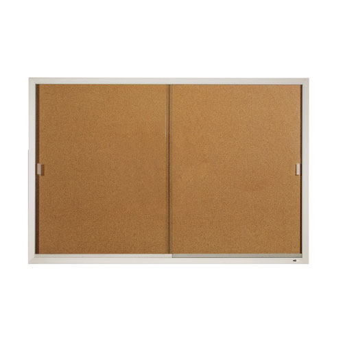 Quartet 6' x 4' Aluminum Frame Sliding Door Enclosed Board (QRT-D2405) Image 1