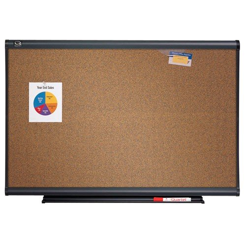Quartet 6' x 4' Connectable Modular Colored Cork Board with Graphite Frame (QRT-MB06C5) Image 1